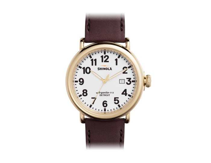 Shinola Runwell 47mm PVD gold finish stainless steel leather strap watch.