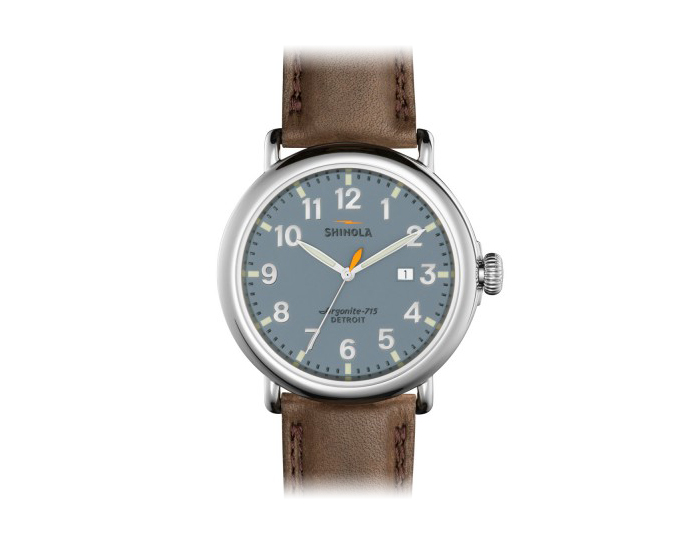 Shinola Runwell 47mm stainless steel leather strap watch.