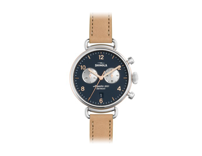 Shinola Canfield Chronograph 38mm stainless steel leather strap watch.