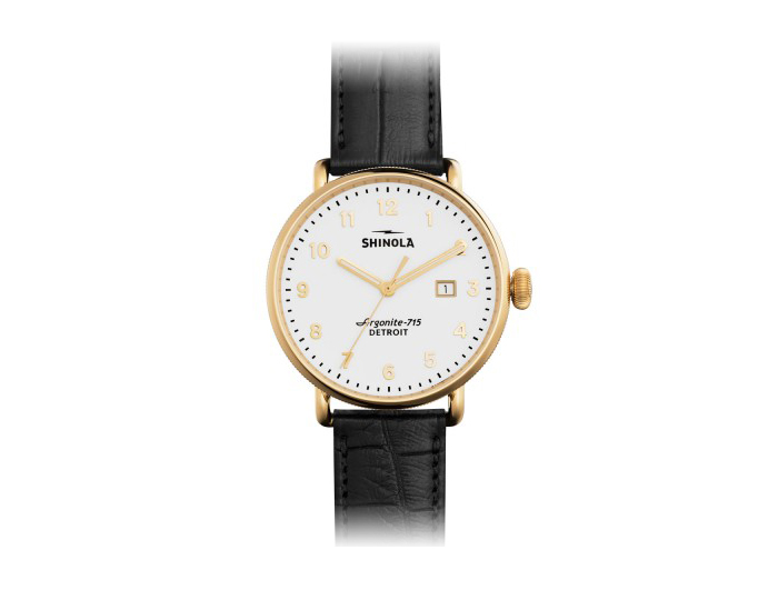Shinola Canfield 43mm PVD gold finish stainless steel alligator strap watch.