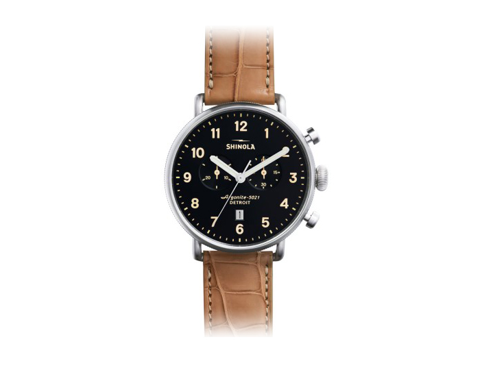 Shinola Canfield Chronograph 43mm stainless steel alligator strap watch.