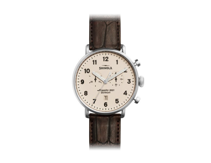Shinola Canfield Chronograph 43mm stainless steel leather strap watch.