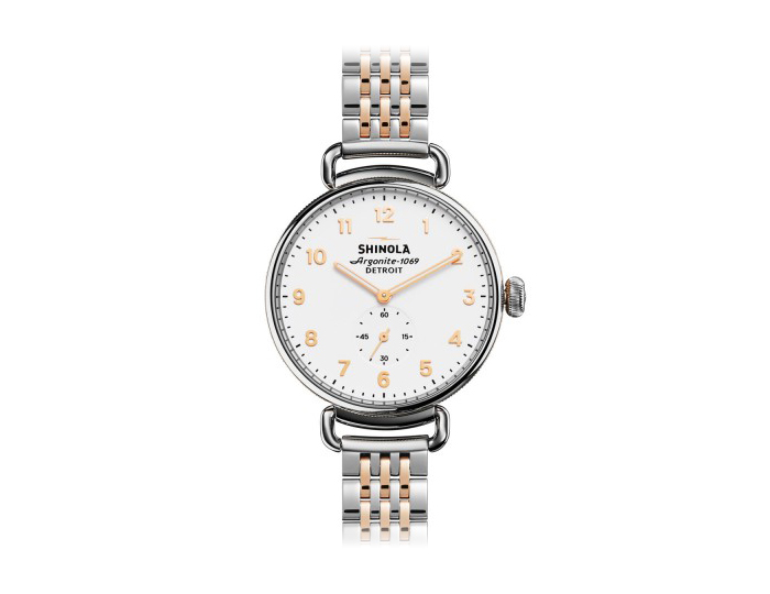 Shinola Canfield 38mm PVD rose gold finish and stainless steel bracelet watch.