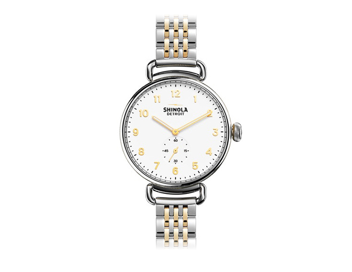 Shinola Canfiled 38mm PVD gold finish and stainless steel bracelet watch.
