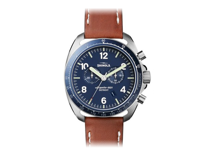 Shinola Rambler Chronograph 44mm stainless steel leather strap watch.