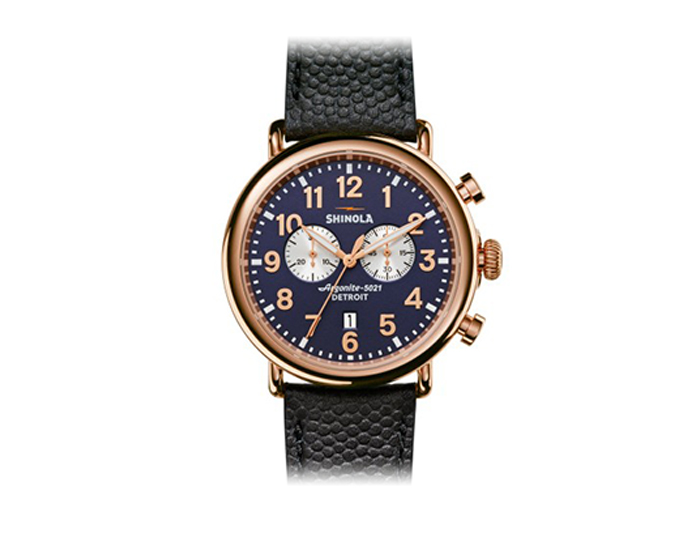 Shinola Runwell Chronograph 47mm PVD rose gold finish leather strap watch.