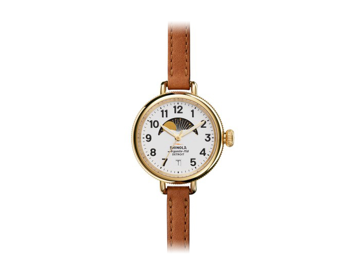 Shinola Birdy Moon Phase 34mm PVD gold finish leather strap watch.