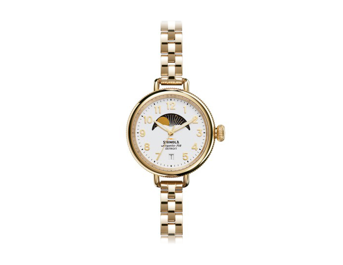 Shinola Birdy Moon Phase 34mm PVD gold finish bracelet watch.