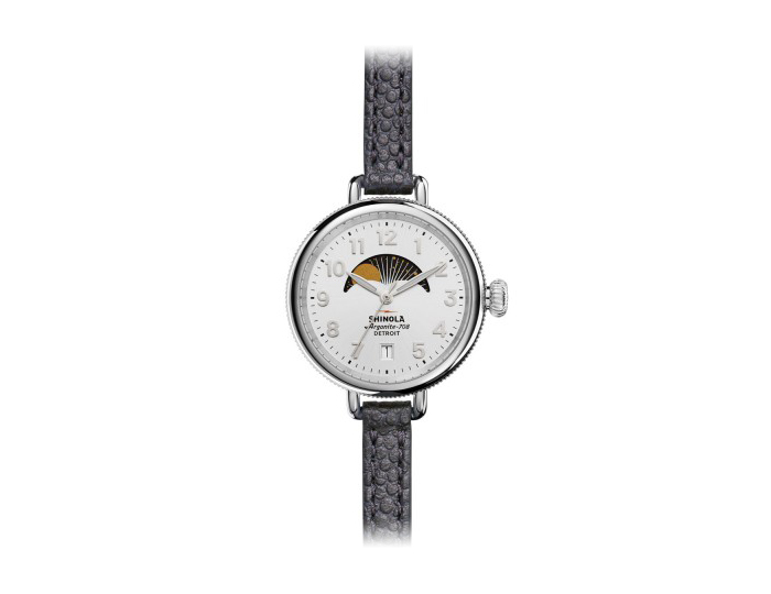 Shinola Birdy Moon Phase 34mm stainless steel leather strap watch.