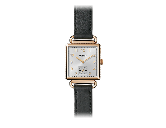 Shinola Cass 28mm PVD gold finish leather strap watch.
