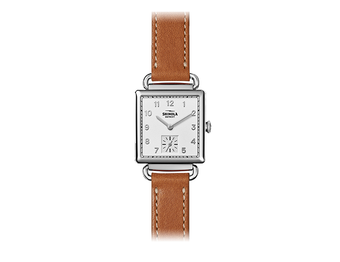 Shinola Cass 28mm stainless steel leather strap watch.