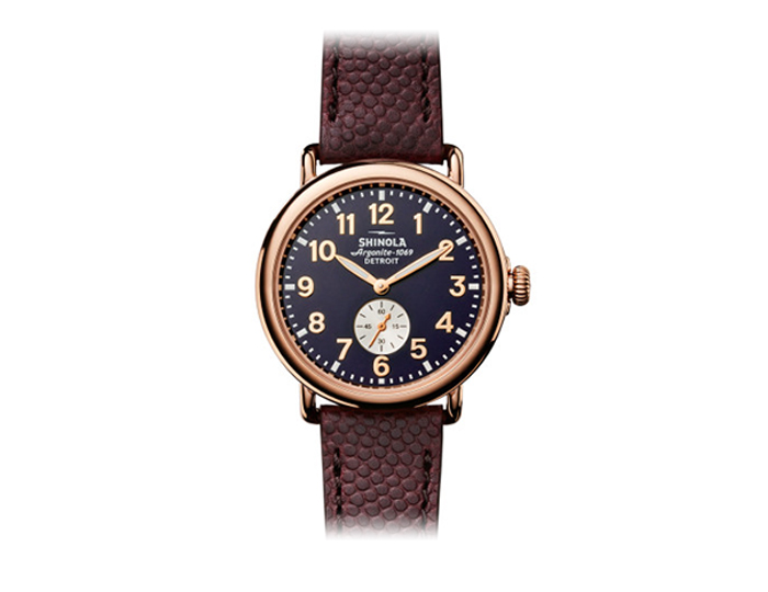 Shinola Runwell 41mm PVD rose gold finish and stainless steel leather strap watch.