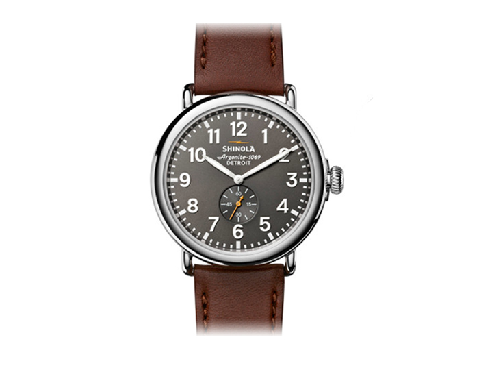 Shinola Runwell 47mm stainles steel leather strap watch.