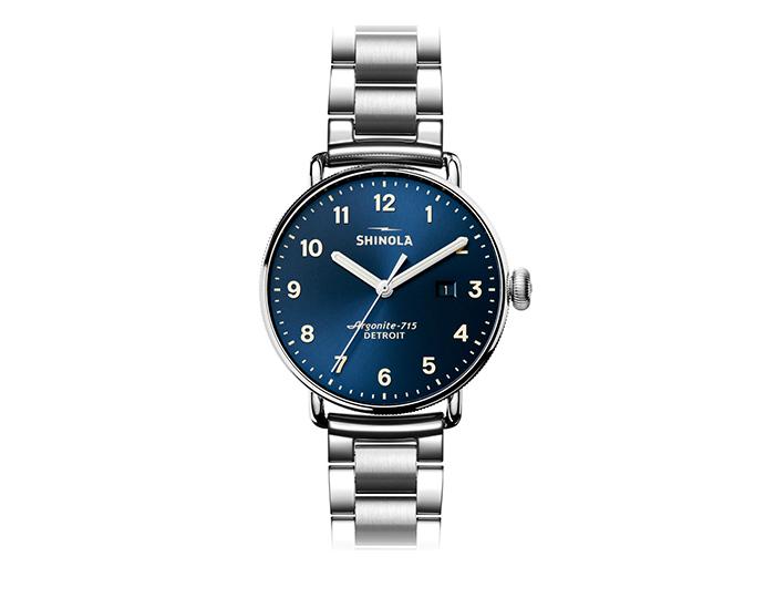 Shinola Canfield 43mm stainless steel bracelet watch.