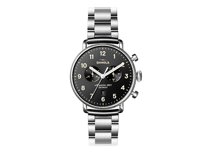 Shinola Canfield 43mm stainless steel bracelet watch.