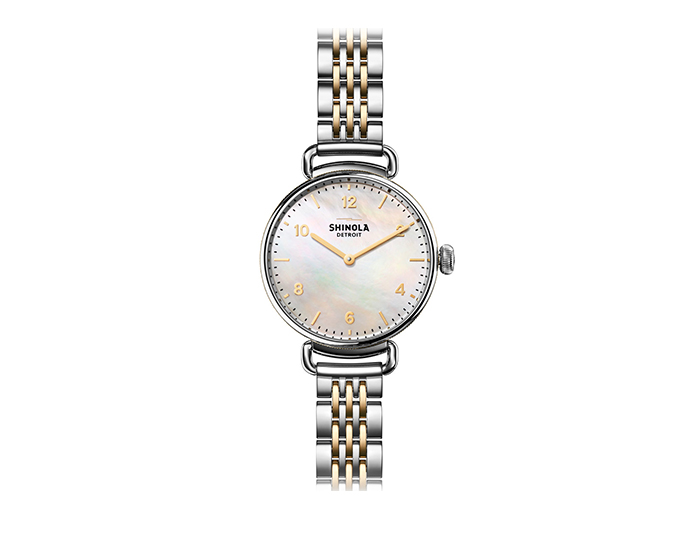 Shinola Canfield 32mm PVD gold finish and stainless steel bracelet watch.