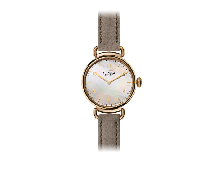 Shinola Canfield 32mm PVD gold finish leather strap watch.