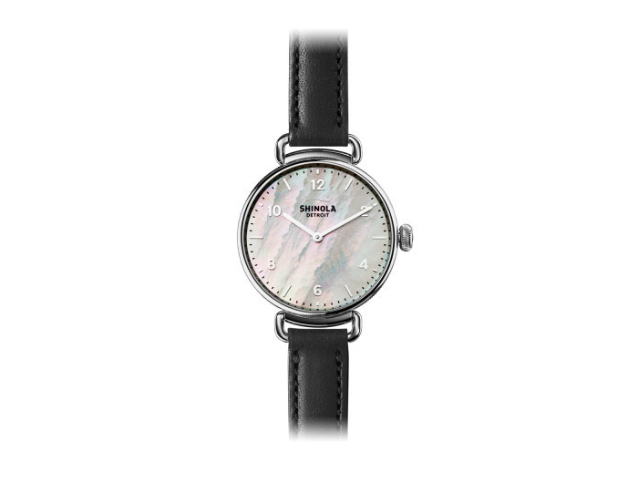 Shinola Canfield 32mm stainless steel leather strap watch.