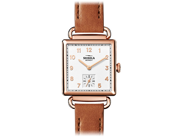 Shinola Cass 28mm PVD rose gold finish leather strap watch.