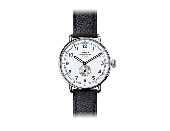 Shinola Limited Edition Canfield Canonball 43mm stainless steel leather strap watch.