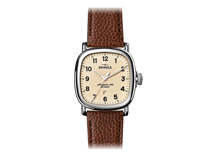 Shinola Guardian 41.5mm stainless steel football leather strap watch.