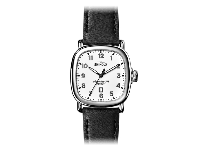 Shinola Guardian 41.5mm stainless steel leather strap watch.