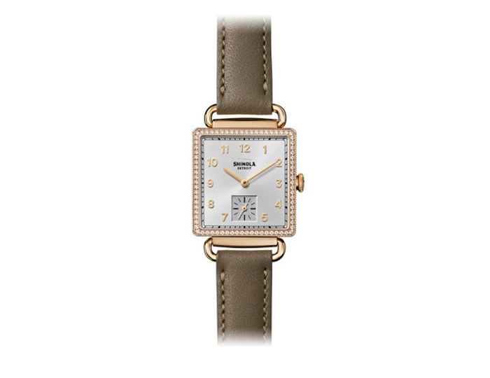 Shinola Cass 28mm PVD gold finish leather strap watch with a diamond bezel.