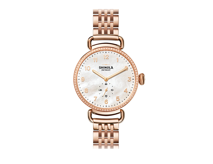 Shinola Canfield 38mm PVD rose gold finish bracelet watch with a diamond bezel.