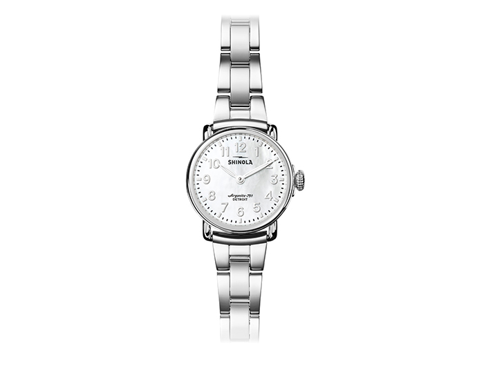 Shinola Runwell 28mm stainless steel bracelet watch.