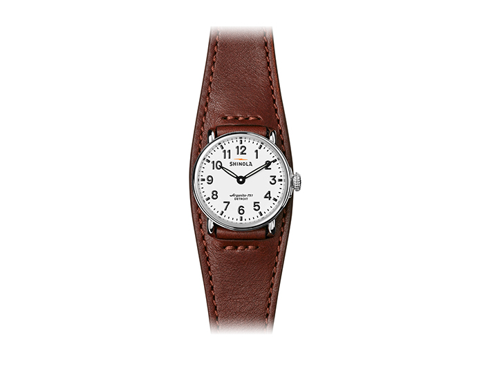 Shinola Runwell 28mm stainess steel leather strap watch.
