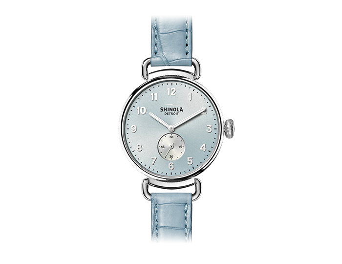 Shinola Canfield 38mm stainless steel alligator leather strap watch.