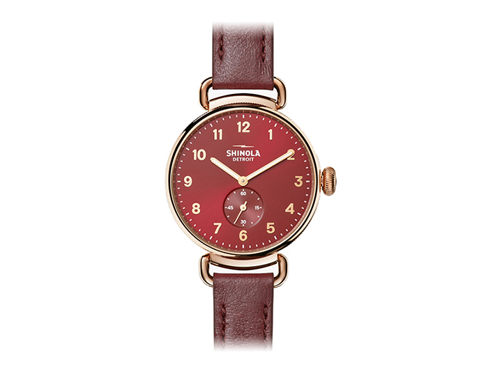 Shinola Canfield 38mm PVD rose gold finish leather strap watch.