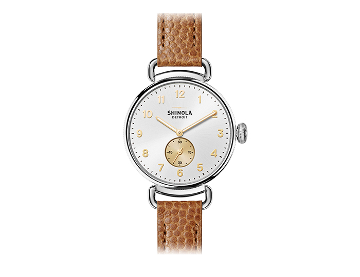 Shinola Canfield 38mm stainless steel football leather strap watch.