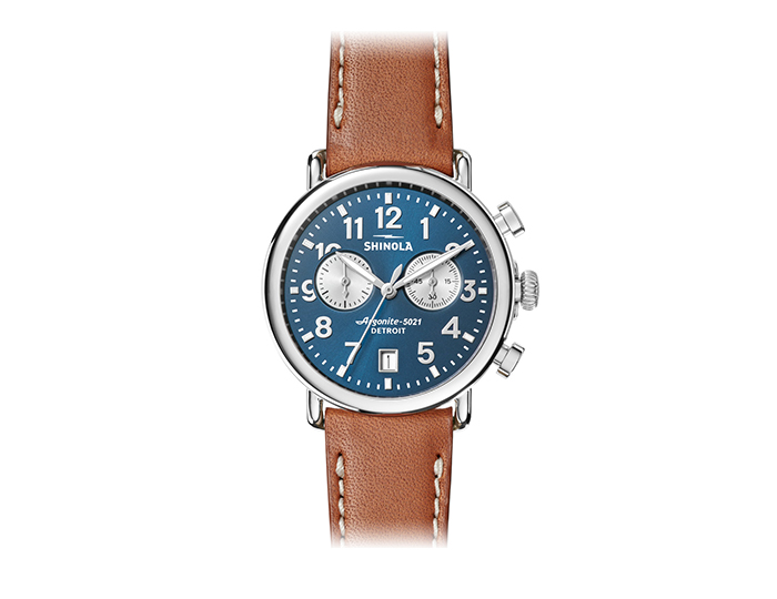 Shinola Runwell Chronograph 41mm stainless steel leather strap watch.