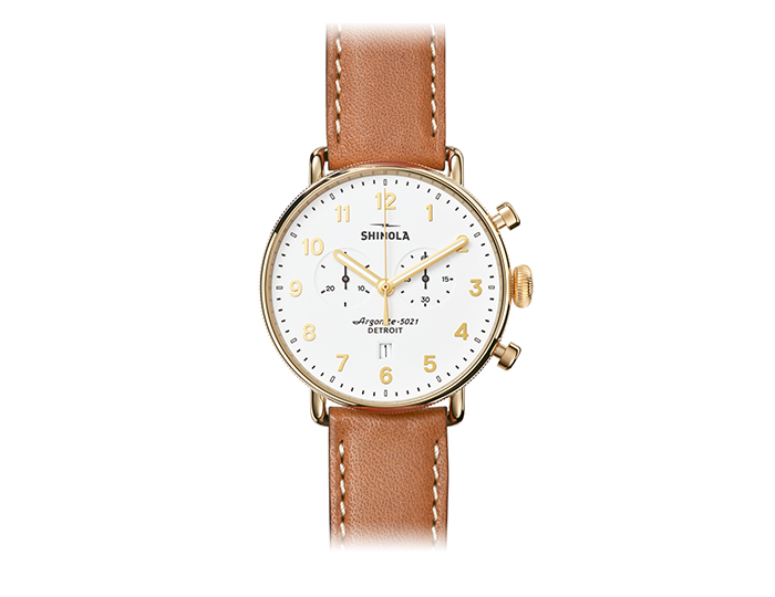 Shinola Canfield Chronograph 43mm PVD gold finish leather strap watch.