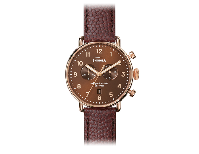 Shinola Canfield Chronograph 43mm PVD rose gold finish leather strap watch.