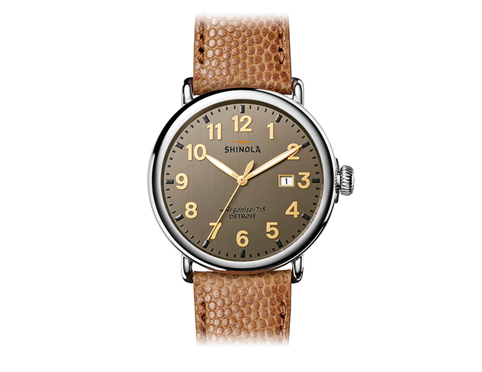 Shinola Runwell 47mm stainless steel football leather strap watch.
