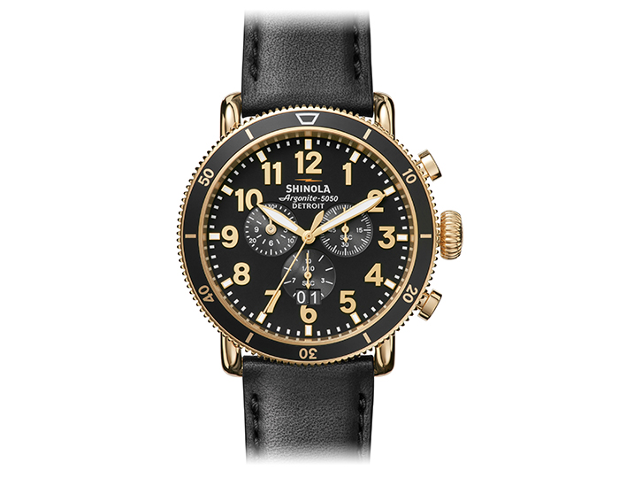 Shinola Runwell Sport Chronograph 48mm PVD gold finish leather strap watch.