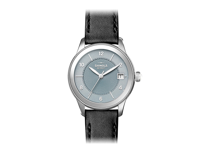 Shinola Gail 36mm stainless steel leather strap watch.