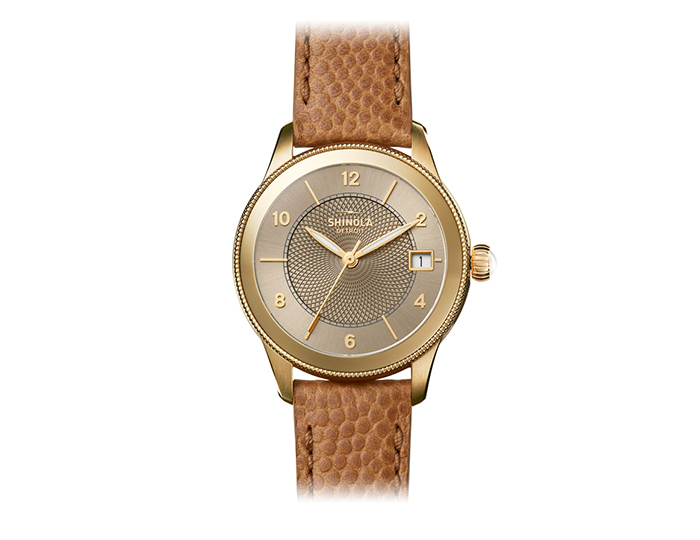 Shinola Gail 36mm PVD gold finish leather strap watch.