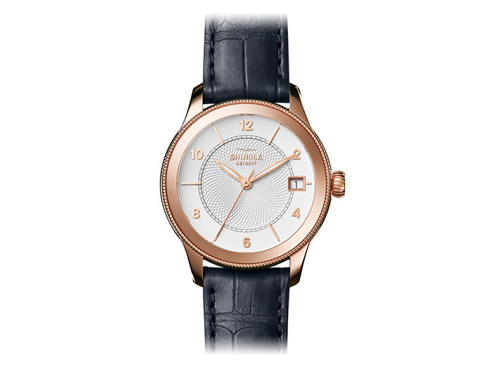 Shinola Gail 36mm PVD rose gold finish alligator leather strap watch.