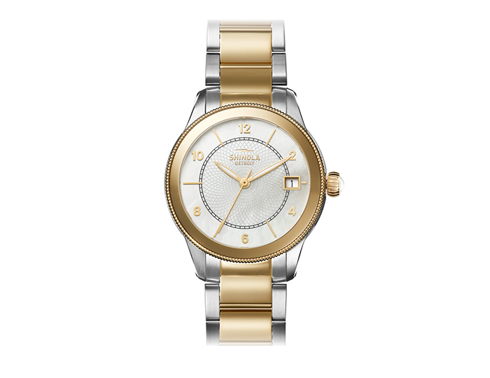 Shinola Gail 36mm PVD gold finish and stainless steel bracelet watch.