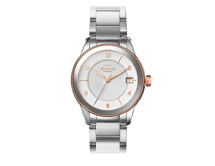 Shinola Gail 36mm stainless steel and PVD rose gold finish bracelet watch.