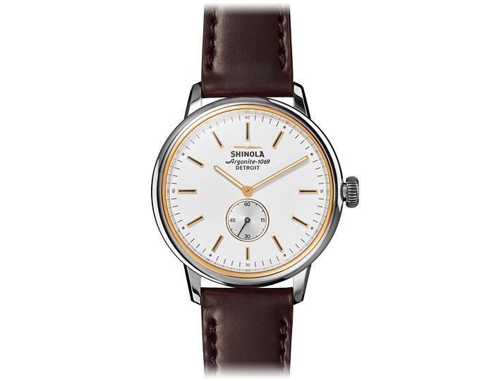 Shinola Bedrock 42mm stainless steel and PVD gold finish leather strap watch.