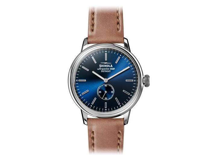 Shinola Bedrock 42mm stainless steel leather strap watch.