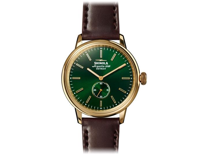 Shinola Bedrock 42mm PVD gold finish leather strap watch.