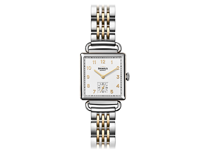 Shinola Cass 28mm stainless steel and PVD gold finish bracelet watch.