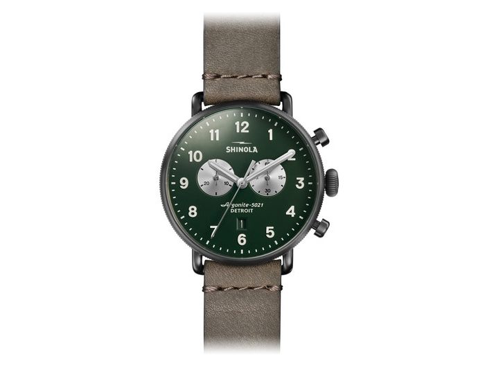 Shinola Canfield Chronograph 43mm PVD gunmetal finish leather strap watch.