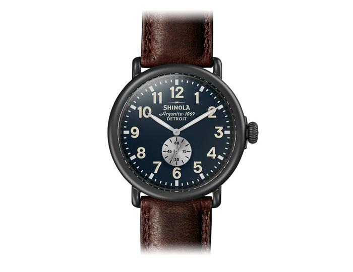 Shinola Runwell 47mm PVD gunmetal finish leather strap watch.