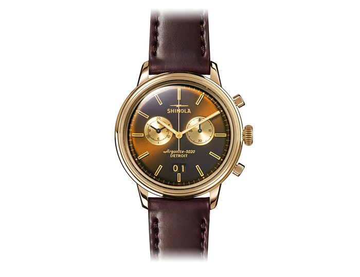 Shinola Bedrock Chronograph 42mm PVD gold finish leather strap watch.
